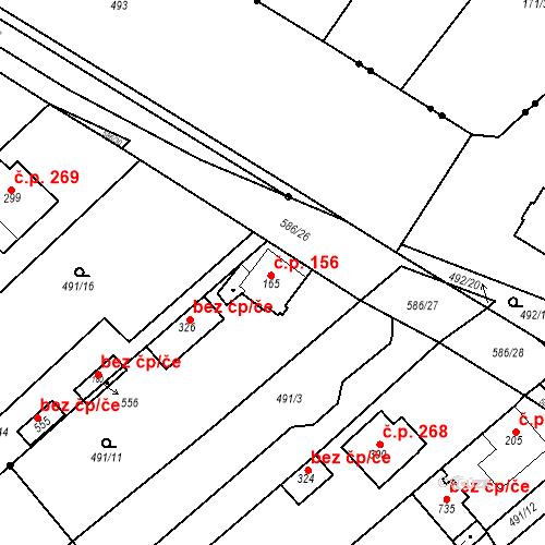 Katastrální mapa Stavební objekt Chrást 156, Tišice