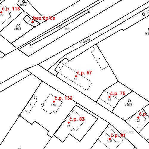 Katastrální mapa Stavební objekt Tišice 57, Tišice