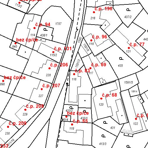 Katastrální mapa Stavební objekt Bystřice 83, Bystřice
