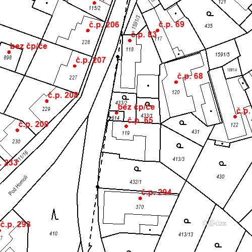 Katastrální mapa Stavební objekt Bystřice 65, Bystřice