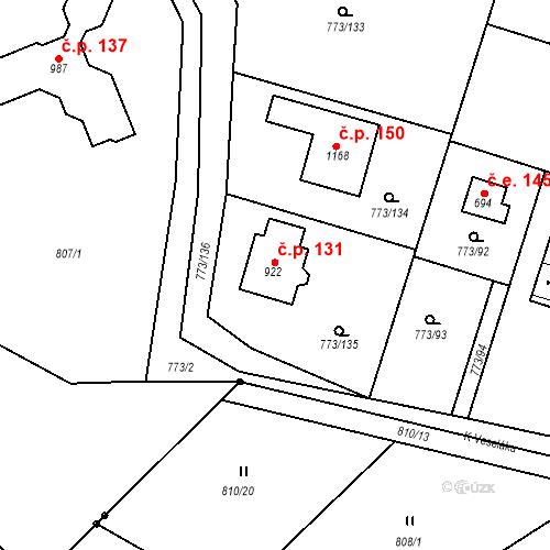 Katastrální mapa Stavební objekt Brtnice 131, Velké Popovice