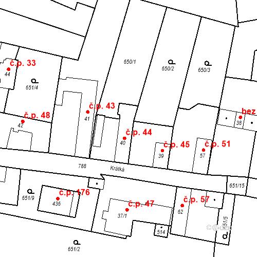 Katastrální mapa Stavební objekt Kozly 44, Tišice