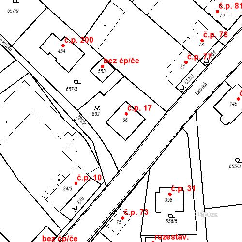 Katastrální mapa Stavební objekt Kozly 17, Tišice