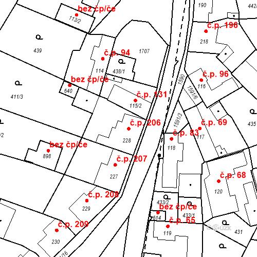 Katastrální mapa Stavební objekt Bystřice 206, Bystřice