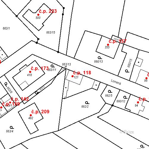 Katastrální mapa Stavební objekt Kozly 118, Tišice