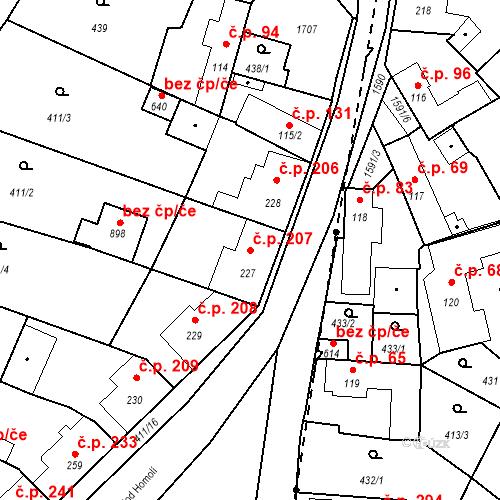 Katastrální mapa Stavební objekt Bystřice 207, Bystřice