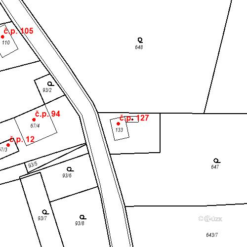 Katastrální mapa Stavební objekt Kozly 127, Tišice