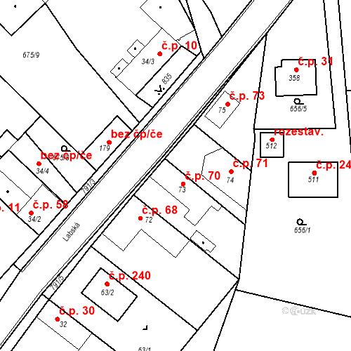 Katastrální mapa Stavební objekt Kozly 70, Tišice