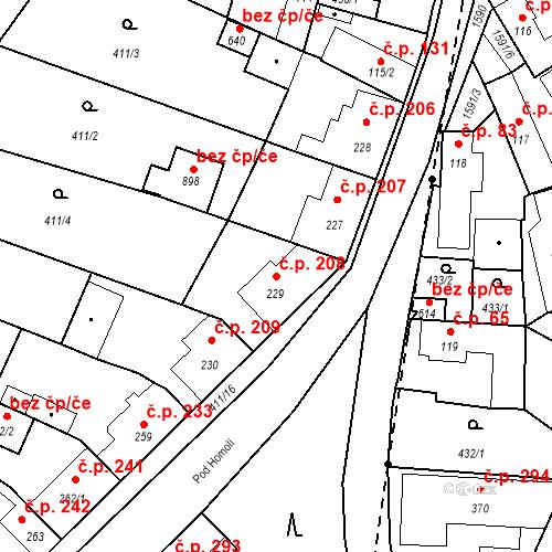 Katastrální mapa Stavební objekt Bystřice 208, Bystřice