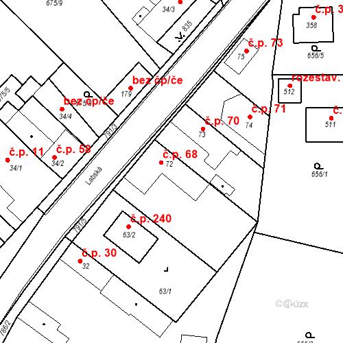 Katastrální mapa Stavební objekt Kozly 68, Tišice