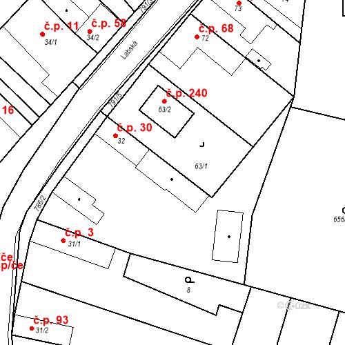 Katastrální mapa Stavební objekt Kozly 30, Tišice