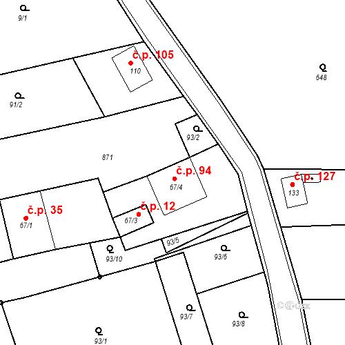 Katastrální mapa Stavební objekt Kozly 94, Tišice