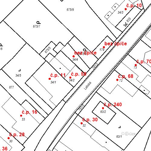 Katastrální mapa Stavební objekt Kozly 58, Tišice