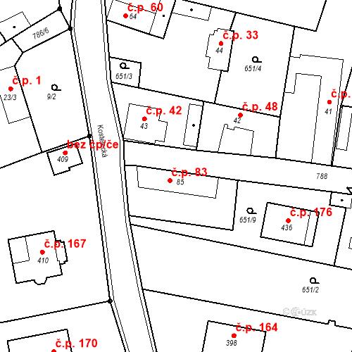 Katastrální mapa Stavební objekt Kozly 83, Tišice
