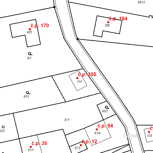 Katastrální mapa Stavební objekt Kozly 105, Tišice