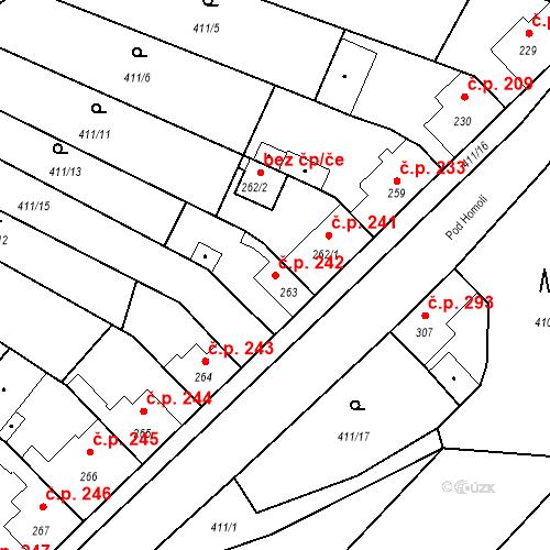 Katastrální mapa Stavební objekt Bystřice 242, Bystřice