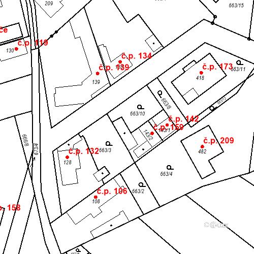 Katastrální mapa Stavební objekt Kozly 159, Tišice