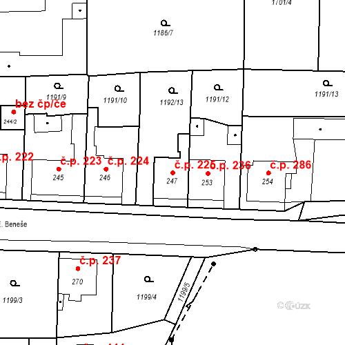Katastrální mapa Stavební objekt Bystřice 225, Bystřice