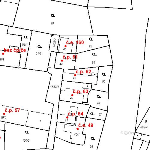 Katastrální mapa Stavební objekt Bystřice 62, Bystřice