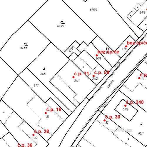 Katastrální mapa Stavební objekt Kozly 11, Tišice