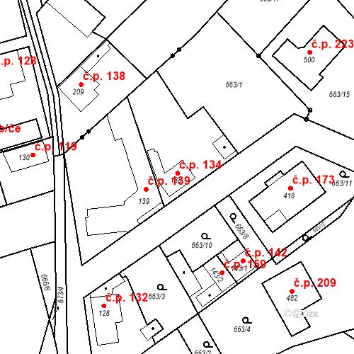 Katastrální mapa Stavební objekt Kozly 134, Tišice