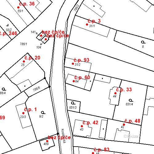 Katastrální mapa Stavební objekt Kozly 60, Tišice