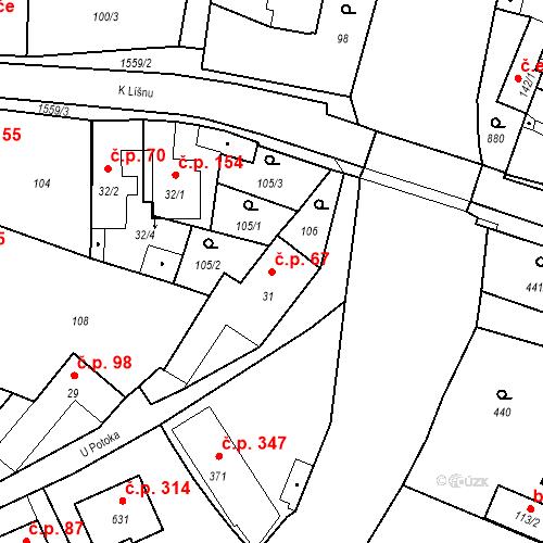 Katastrální mapa Stavební objekt Bystřice 67, Bystřice
