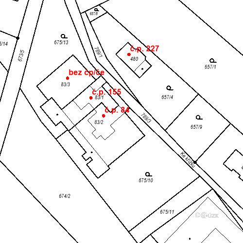 Katastrální mapa Stavební objekt Kozly 84, Tišice