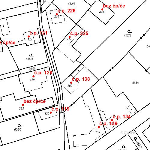Katastrální mapa Stavební objekt Chrást 138, Tišice