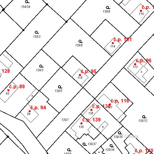 Katastrální mapa Stavební objekt Tišice 95, Tišice