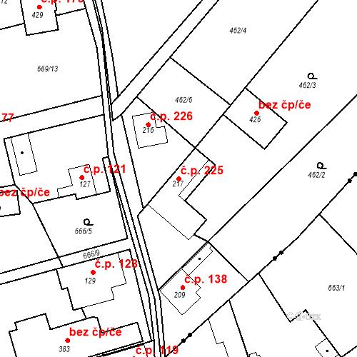Katastrální mapa Stavební objekt Chrást 225, Tišice