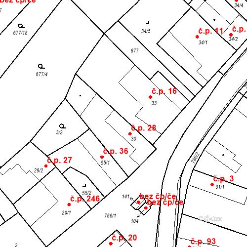 Katastrální mapa Stavební objekt Kozly 28, Tišice