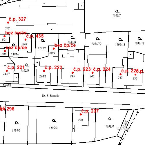 Katastrální mapa Stavební objekt Bystřice 223, Bystřice