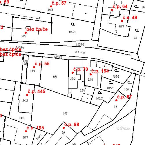 Katastrální mapa Stavební objekt Bystřice 70, Bystřice