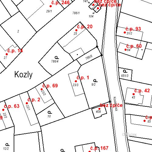 Katastrální mapa Stavební objekt Kozly 1, Tišice