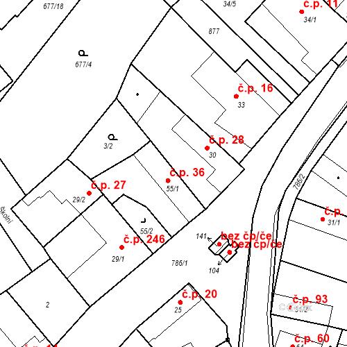 Katastrální mapa Stavební objekt Kozly 36, Tišice