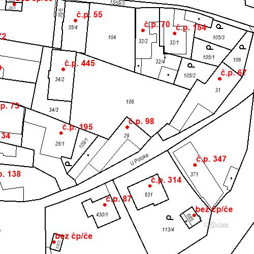 Katastrální mapa Stavební objekt Bystřice 98, Bystřice
