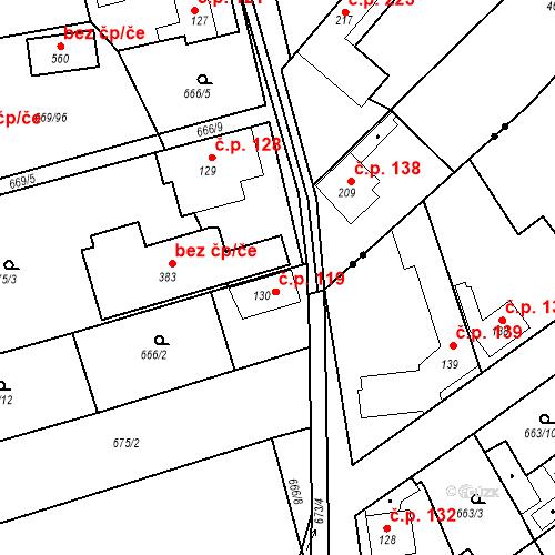 Katastrální mapa Stavební objekt Kozly 119, Tišice