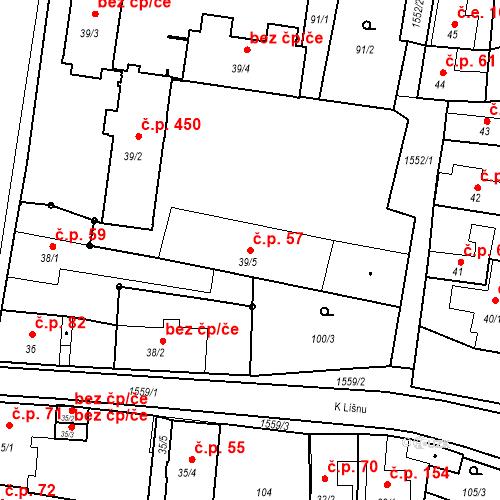 Katastrální mapa Stavební objekt Bystřice 57, Bystřice