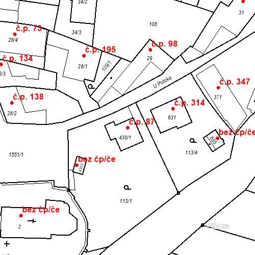 Katastrální mapa Stavební objekt Bystřice 87, Bystřice