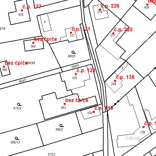 Katastrální mapa Stavební objekt Kozly 128, Tišice