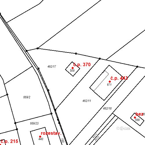 Katastrální mapa Stavební objekt Chrást 370, Tišice