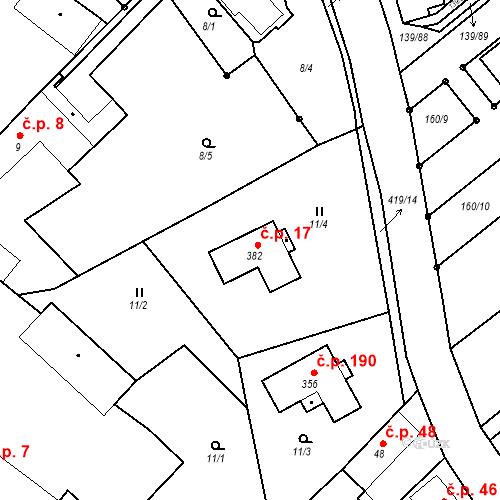 Katastrální mapa Stavební objekt Tišice 17, Tišice