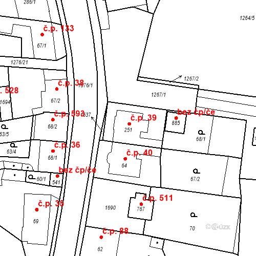 Katastrální mapa Stavební objekt Bystřice 39, Bystřice
