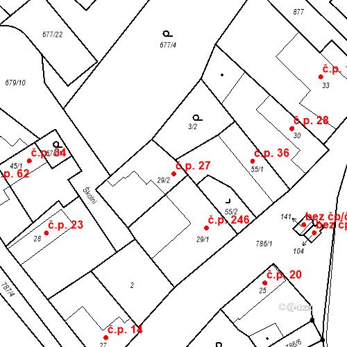 Katastrální mapa Stavební objekt Kozly 27, Tišice