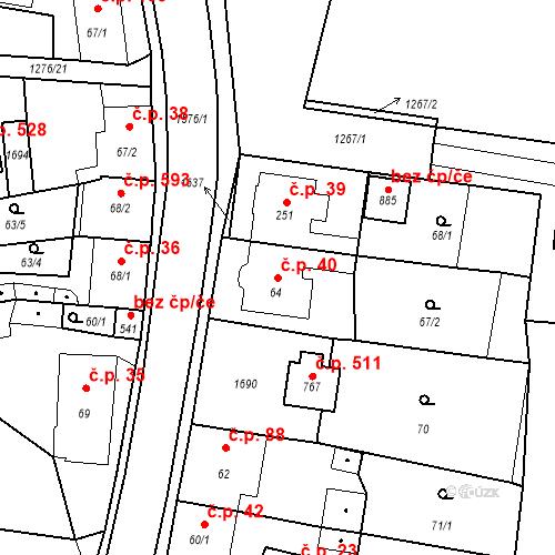 Katastrální mapa Stavební objekt Bystřice 40, Bystřice