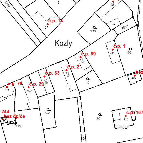 Katastrální mapa Stavební objekt Kozly 2, Tišice