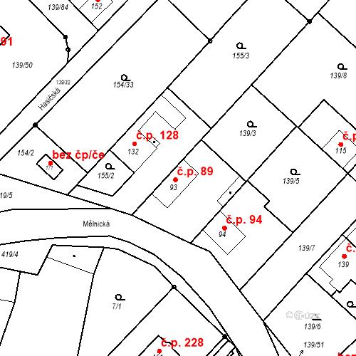 Katastrální mapa Stavební objekt Tišice 89, Tišice