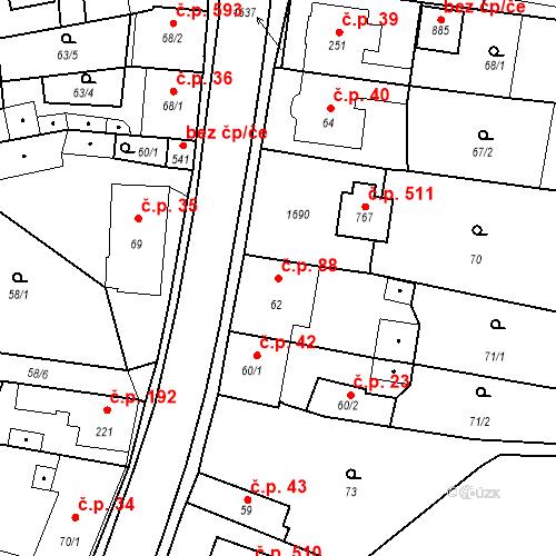 Katastrální mapa Stavební objekt Bystřice 88, Bystřice