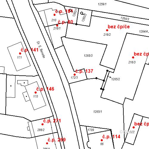 Katastrální mapa Stavební objekt Bystřice 137, Bystřice